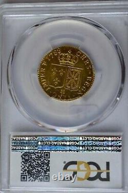 Louis d'or Gold 1788 / 7 H La Rochelle NVA au lieu de NAV PCGS MS64 Désaxée RRR