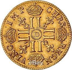 Louis d'or à la tête virile 1681 D Lyon très rare SUP à FDC brillant de frappe