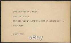 MEGA DDR Gedenkblatt FDC 250 Jahr Feier Akademie der Wissenschaften 1950 RARE