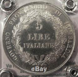 MILANO GOVERNO PROVVISORIO 5 LIRE 1848 periziata Manfredini QFDC/FDC