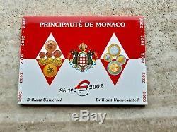 MONACO 2002 SET Serie BU FDC KMS Completa full UFFICIALE Coffret Etui Euro
