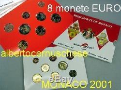 MONACO 8 monete fdc BU 3,88 EURO 2001 in confezione ORIGINALE