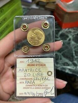 MONETA ORO REGNO D' ITALIA 20 LIRE ARATRICE 1912 RARA sigillata SPL/FDC