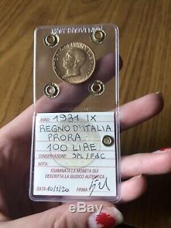 MONETA REGNO D' ITALIA 100 LIRE PRORA 1931 IX ORO sigillata SPL/FDC