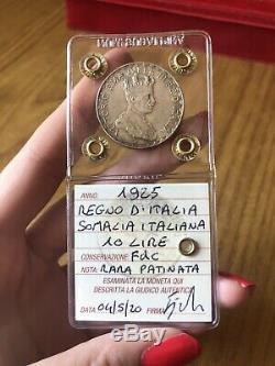 MONETA REGNO D' ITALIA SOMALIA ITALIANA 10 LIRE 1925 RARA sigillata FDC