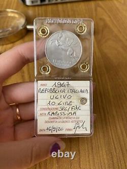 MONETA REPUBBLICA ITALIANA 10 LIRE ULIVO 1947 RARISSIMA sigillata SPL/FDC