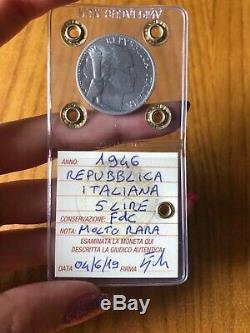 MONETA REPUBBLICA ITALIANA 5 LIRE UVA 1946 MOLTO RARA sigillata FDC SUBALPINA