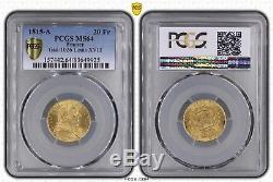 Magnifique 20 Francs or Louis XVIII Buste habillé 1815 A Paris FDC PCGS MS64