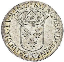 Magnifique Ecu à la mèche longue Louis XIV 1653 X Amiens PCGS MS62 SUP à FDC