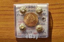 Moneta Impero Austriaco Francesco Giuseppe 4 Fiorini 1892 Mezzo Marengo Oro Fdc