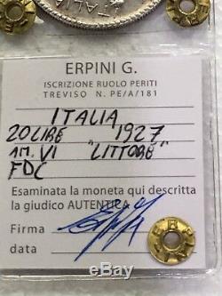 Moneta da 20 Lire LITTORE 1927 A. VI FDC periziata Erpini Gianfranco