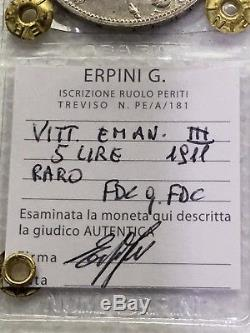 Moneta da 5 Lire 1911 RARA CINQUANTENARIO FDC/qFDC periziata Erpini Gianfranco