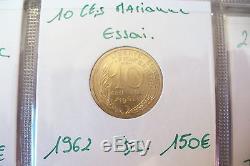 Monnaie France Rare Essais 10 Centimes Marianne Fdc- 1962!
