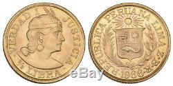 Monnaie, Pérou 1/2 libra Gold République Péruvienne Or 1966 Lima, UNC FDC 44000ex