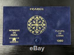 Monnaie de Paris Coffret FDC Fleur de Coin 1980 avec 10 monnaies