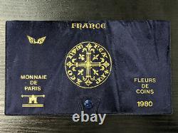 Monnaie de Paris Coffret FDC Fleur de Coin 1980 avec 10 monnaies Avec ailes