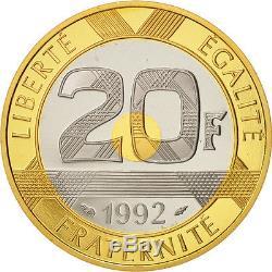 Monnaies, France, Mont Saint Michel, 20 Francs, 1992, FDC, Tri-Metallic #19672