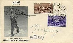 Mount Everest 1953 Fdc Hand Signed Edmund Hillary & Tenzing Norgay Autographed