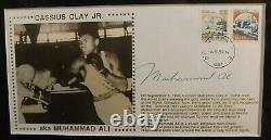 Muhammad Ali Twice Signed Framed Display Boxing Trunks & 1st Day Cover 2 Psa/dna