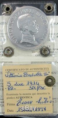 N18/1529 Vitt. Eman. III 5 LIRE 1914 Quadriga SPL-FDC periziata Tevere