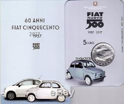 NEW! 5 EURO Argento FDC ITALIA 2017 60° anniversario nascita FIAT 500 NEW