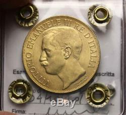 NL VEIII Italia 50 Lire Oro 1911 CINQUANTENARIO Q. FDC Periziata FILISINA M