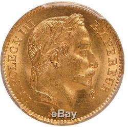 Napoleon III 20 Francs or 1867 BB Strasbourg PCGS MS64 FDC