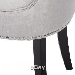 New Set of 2 Grey Elegant Fabric Upholstered Dining Side Chairs with Nailhead 36L