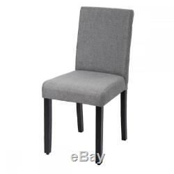 New Set of 4 Grey Elegant Design Modern Fabric Upholstered Dining Chairs Home