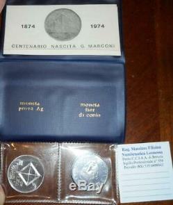 Nl Italia 100 Lire Marconi 1974 Prova In Argento Rara Fdc Set Originale Zecca