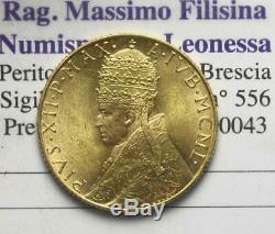 Nl Roma Papa Pio XII 100 Lire Oro 1950 Anno Santo Rara Fdc Periziata Filisina M