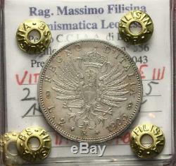 Nl Veiii 2 Lire Argento Aquila Sabauda 1905 Ottimo Q. Fdc Perizia Filisina M