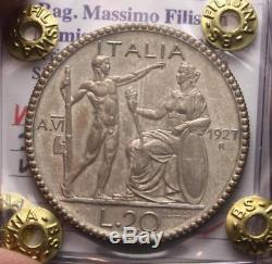 Nl Veiii 20 Lire Argento 1927 Littore Nc Ottimo Q. Fdc Perizia Filisina Massimo