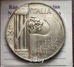 Nl Veiii 20 Lire Argento Elmetto 1928 Nc Ottimo Q. Fdc/fdc Periziata Filisina