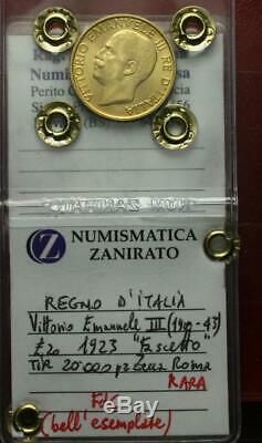 Nl Veiii 20 Lire Oro 1923 Fascetto Rara Fdc Bell'esemplare Sigillato Zanirato