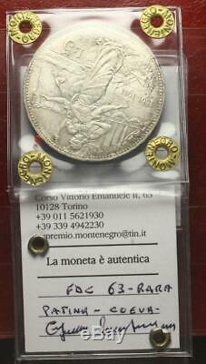Nl Veiii 5 Lire Argento 1911 Cinquantenario Rara Fdc 63 Perizia Montenegro