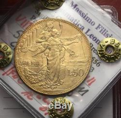 Nl Veiii 50 Lire Oro 1911 Cinquantenario Rara Spl/fdc Perizia Filisina Massimo