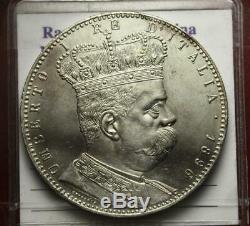 Nlumberto I Eritrea Tallero 5 Lire Argento 1896 Molto Raro Spl/fdc Filisina M