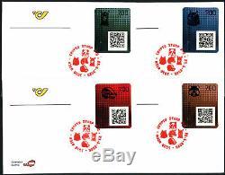 Ö, 2020, Crypto stamps 2.0, alle vier Tiere je mit den 5 Sonderstempeln auf FDC