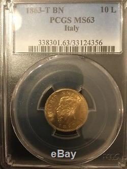 PCGS MS 63 ITALIA REGNO 10 Lire 1863 T Gold ORO Vittorio Emanuele II FDC / MS63