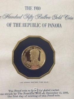 Panama FDC 1980FM Gold 150 Balboas PROOF Simon Bolivar Km#68