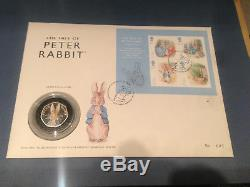 Peter Rabbit Silver Proof 50p First Day Cover (No. 1 of 500) Rare / Valuable