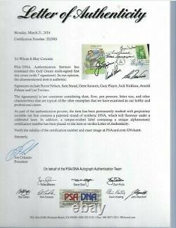 Pro Golfers Autographed First Day Cover PSA Letter (7) Nicklaus, Palmer, Snead, Lee