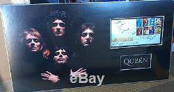 QUEEN personally BAND signed musicals FDC picture mounted May, Taylor and Deacon