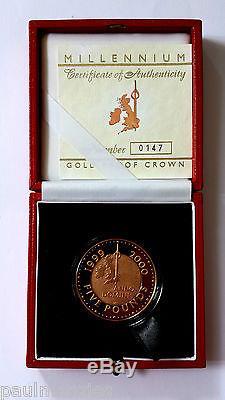 Queen Elizabeth II 2000 Millennium Year Proof Gold Five Pound Crown Fdc
