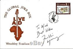 Queen Freddie Mercury Hand Signed Autographed Live Aid FDC Dedicated to Mark