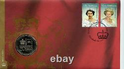 RARE PNC Australia 2002 Golden Jubilee QEII Accession RAM 50c Commemorative Coin