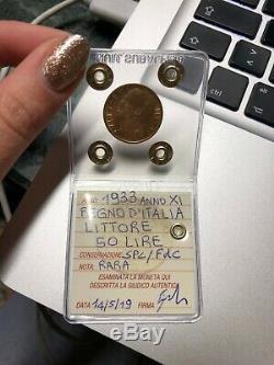 REGNO D' ITALIA 50 LIRE LITTORE 1933 XI RARA ORO sigillata SPL/FDC SUBALPINA