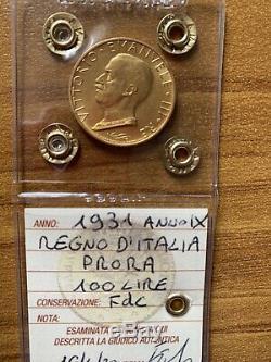 REGNO D' ITALIA Lire 100 Prora 1931 Anno IX oro Fdc Sigillato Num SUBALPINA