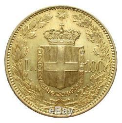 REGNO D'ITALIA UMBERTO I 100 lire oro 1882 SPL/FDC fondi a specchio PERIZIATA